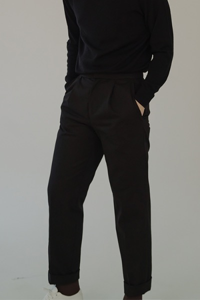 tapered cotton trousers black