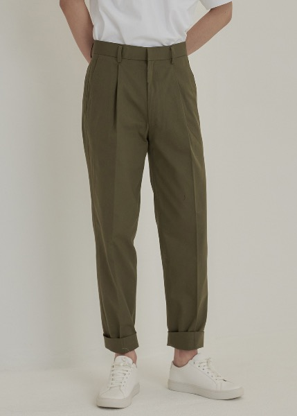 tapered cotton trousers khaki